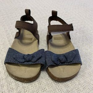 Carter's 6-9 months brown and blue girls sandals